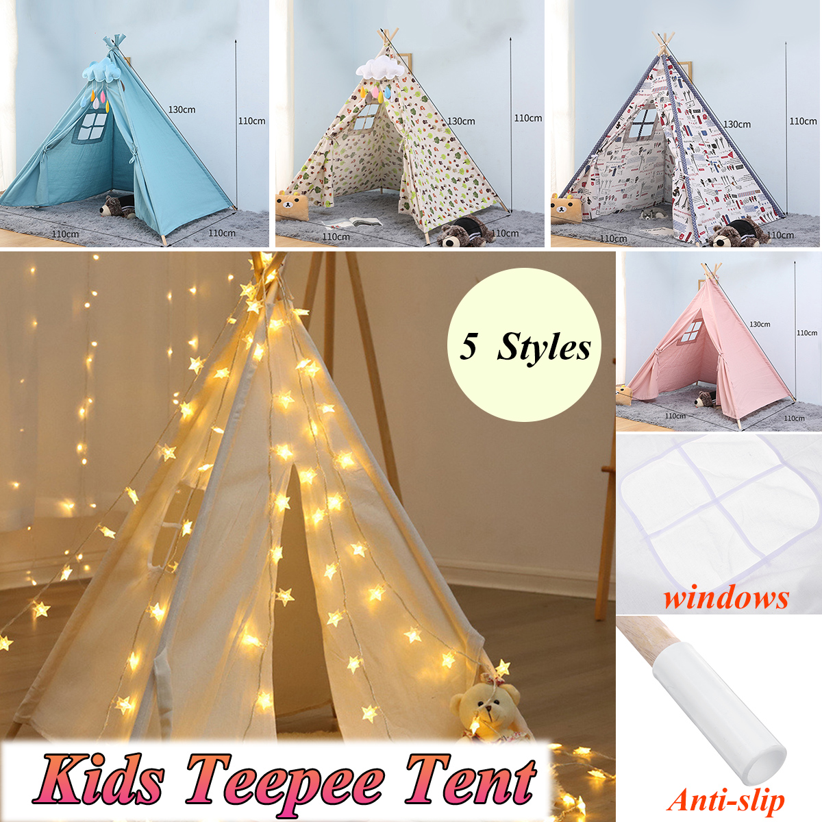 1.3m-Large Canvas Teepee Tent Kids Teepee Tipi with Grey Pom Poms Indian Play Tent House Children Tipi Tee Pee Tent NO MAT
