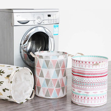 Cotton Linen Folding Dirty Clothes Basket Waterproof Storage Toys Collection Bucket Laundry Hamper