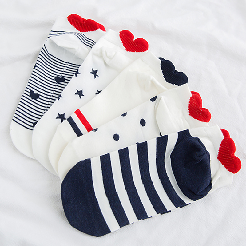 5Pairs New Arrivals Women Cotton Socks Pink Cute Cat Summer Spring Ankle Short Sock Casual Animal Ear Red Heart Wholesale