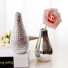 Маленькая серебряная зеркальная Цветочная ваза для гостиной, минималистичные украшения, Современное украшение для дома в скандинавском стиле, розовая Цветочная ваза для растений
