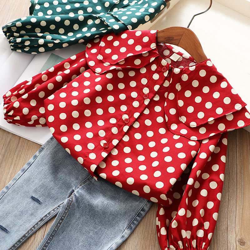 Детская рубашка для девочек, детская одежда, модный топ, Весенняя новая рубашка для девочек с волнистыми листьями лотоса, рубашка в Корейско...