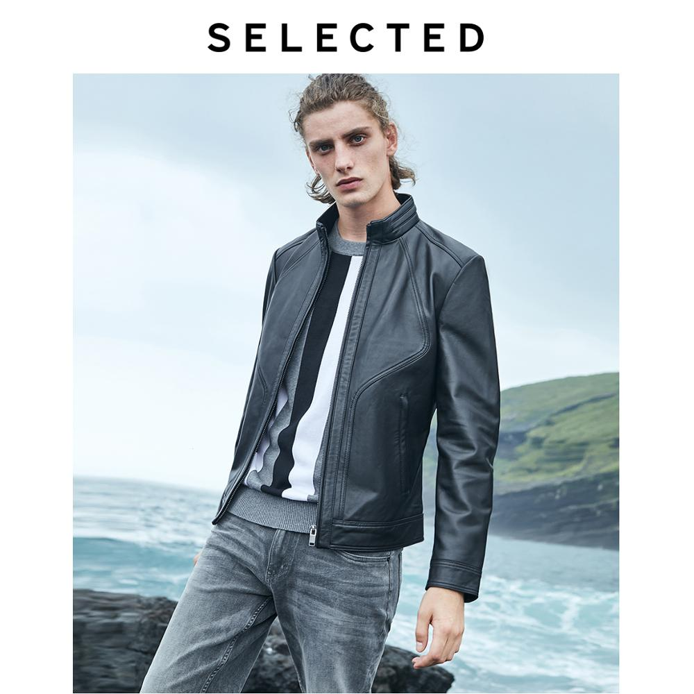 SELECTED New Men's Leather Jacket Clothes Goatskin Business Casual Stand Collar Genuine Leather Coat S | 418310515