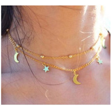 EDS Choker Necklace Star Moon Layered Necklace Gold Silver Fashion Necklaces For Women 2019 Statement Metal Party Sweet Jewelry