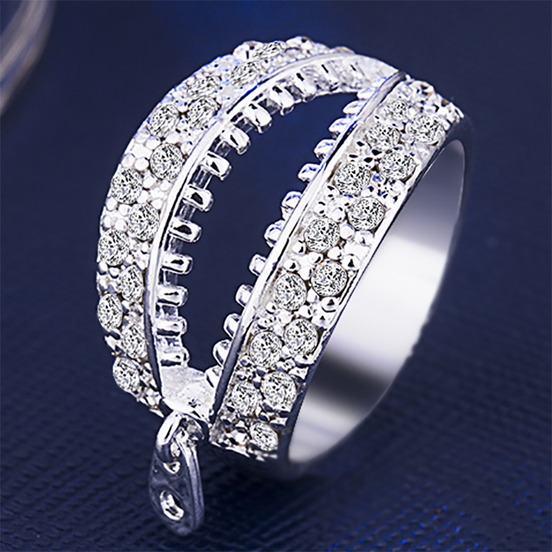 Best selling European and American fashion creative personality zipper silver plated open ring wholesale fashion exaggeration image