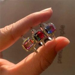 Urok kobieta Rainbow kryształowy pierścionek z kamienia Vintage kolor srebrny obrączki dla kobiet obietnica kwadratowy pierścionek zaręczynowy z cyrkonią