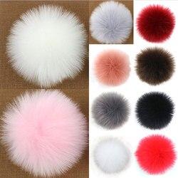 Colorido 10cm falso pompom de pele de guaxinim natural grande pompom de pele de guaxinim foxes chapéu de pele pom chapéus de malha boné de chapéu diy decoração macia nova