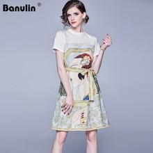 Banulin 2019 Summer Runway Designer Dresses Womens Short Sleeve Cute Cartoon Printed Tied Waist Mini Party Dress Vestidoes