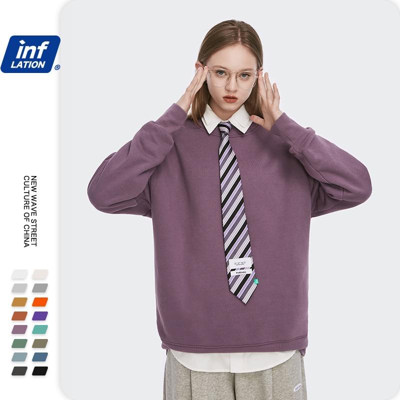 INFLATION Winter Mens Hip Hop Multi-colour Hoodies Velvet Fabrics Fleece Sweatshirts 8 Solid Color Winter Men Sweatshirts 166W17 17