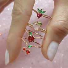 Anillo de fruta con diseño creativo para mujer, sortija de cristal chapado en oro de 18k, cereza, manzana, fresa UVA, anillos para damas, 2020