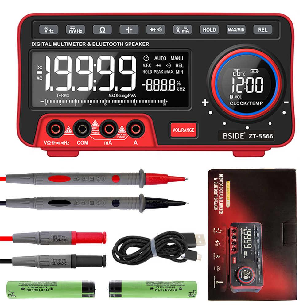 BSIDE Dual Display Digital-Multimeter EBTN + Drahtlose Lautsprecher + Uhr 19999 Zählt Tisch DMM mit 2Pcs 18650 Batterie
