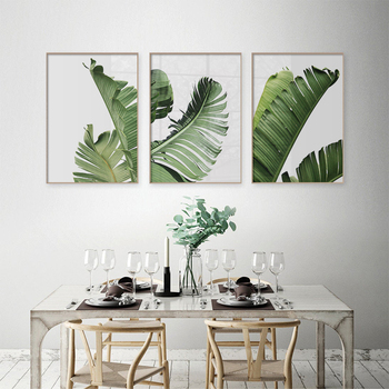 Scandinavian Style Tropical Green Plants Nordic Poster Modern Wall Art Decorative Picture Painting For Living Room Home Decor image