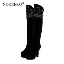women winter boots knee high boots over the knee boots womens boots Flock Rubber Super High (8cm-up) Winter women boots(China)