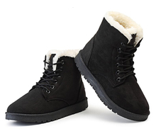 Fashion Women's Snow Boots Lace up Ankle Boot Suede Winter Warm Fur Shoes leopard printed suede lace up snow boots