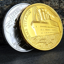 Pretty Commemorative Coin Titanic Ship Incident Collection Arts Gifts Alloy Gold-Plated Coins Movie Bedge Free shipping