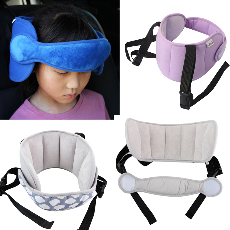 Child Car Seat Safety Baby Head Fixing Auxiliary Cotton Belt Adjusted Infants Sleeping Fixing Bent Head Security Protector Gray