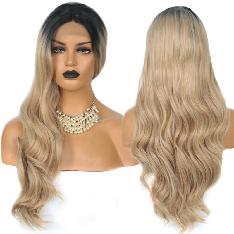 Charisma Dark Roots Ombre Blonde Wig Body Wave Black Roots Synthetic Lace Front Wig For Women Natural Hairline Wigs Full End