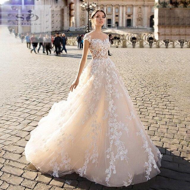 SODigne תחרה boho 2020 קו הכלה שמלות אלגנטי & פיות חתונה שמלות תפור לפי מידה חתונה שמלות כלה