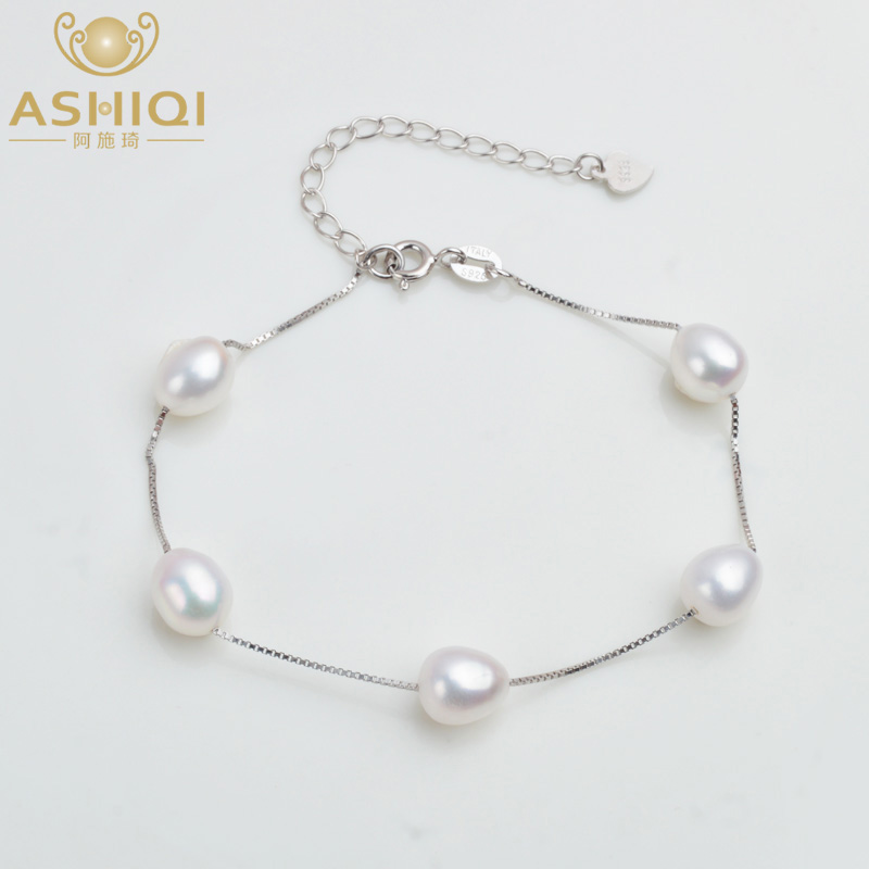 ASHIQI Genuine 925 Sterling Silver Bracelet For Women 7-8mm Natural Freshwater Pearl Jewelry 4 Colours