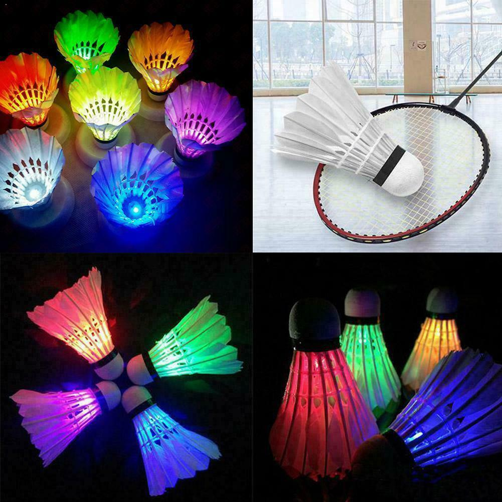 4Pcs Lighting Badminton Shuttlecock Dark Night Colorful Lighting Light Shuttle Accessories Sport LED Badminton Cock Ball Sp C7R1