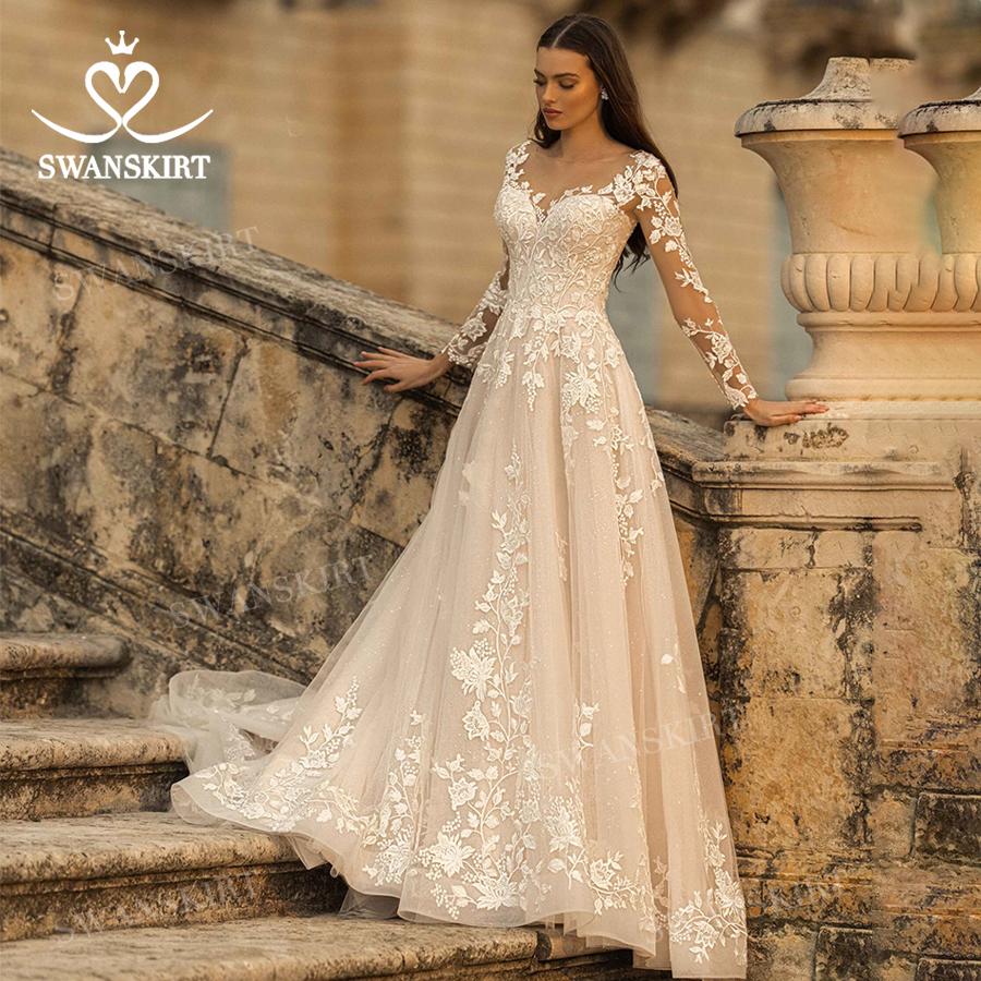 Vintage Long Sleeve Wedding Dress Appliqued A Line Bridal Gown 2021 Lace Up Princess SwanSarah N307 Plus Size Vestido De Novia