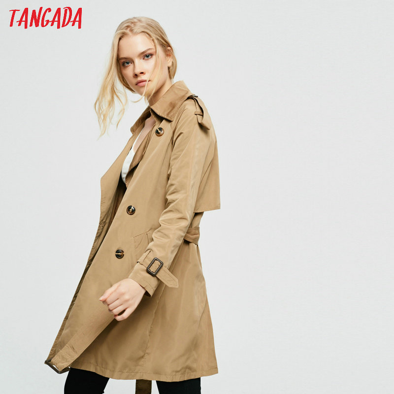 Tangada 2019 women cotton solid sashes long   trench   coat elegant female elegant long windbreaker england style outwear 2Z08
