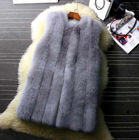 2019 Vetement invierno de piel sintética de las mujeres chaleco salvaje peluda chaqueta peluda Furry de talla grande prendas de vestir abrigo de cintura Lolita Veat AW301