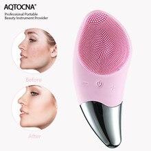 Электрическая мини-щетка для чистки лица aqtouch na, силиконовый Ультразвуковой очиститель лица, устройство для глубокой очистки пор, массажер ...