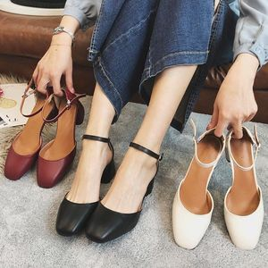 EOEODOIT 5 cm Med Heel Square Toe Mary Janes Leather Pumps Shoes Sandals Women Summer Ankle Buckle Casual Office Lady Shoes