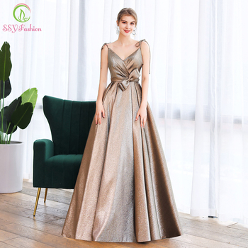 SSYFashion New Luxury Evening Dress Sexy V-neck Simple A-line Banquet Elegant Prom Gowns Formal Party Dresses Vestido De Noche alagirls a line pearl prom dresses v neck spaghetti evening dress vestido de fiesta formal party dress vestido de noche