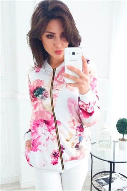 8 couleurs femmes vestes fleur imprimé fleuri rétro dames fermeture éclair jusqu'à court mince mince Bomber veste manteaux vêtements d'extérieur décontractés de base 4