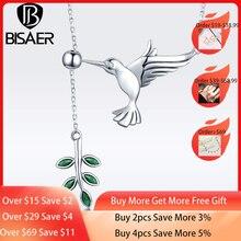 [Satın 4 daha fazla 5%]BISAER 925 ayar gümüş Hummingbirds tebrik ağaç yaprakları kolye kolye gümüş takı
