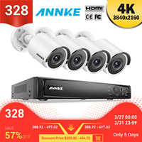 ANNKE 8CH 4K Ultra HD POE sistema de vídeo de red de seguridad 8MP H.265 NVR con 4 Uds cámara IP resistente a la intemperie de 8MP con 1 TB/2 TB/4 TB HDD