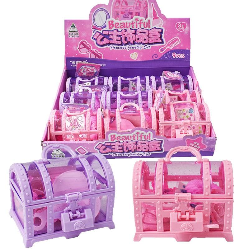 1 rastgele teslimat kız giyinmek oyuncaklar prenses mücevher kutusu kız oyun evi mücevher kutusu kravat kafa firkete oyuncak