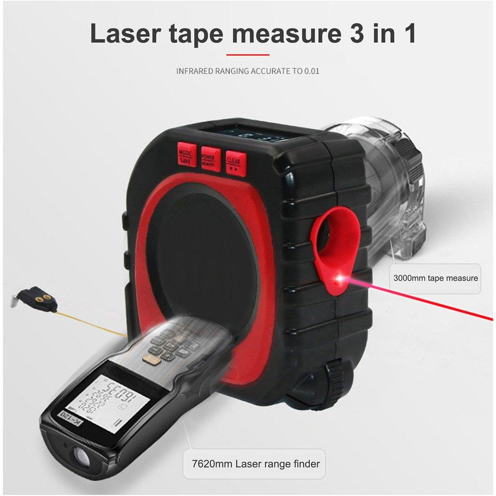 3-in-1 Digital Multi-function Measure Tape Infrared Laser Distance Meter Measuring Tool Range Finder Roll Cord Mode Gauge Tool