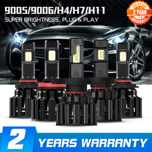 NOVSIGHT H4 LED H7 H11 H8 HB4 HB3 자동차 헤드 라이트 전구 100W 20000LM 자동차 스타일링 6000K led automotivo