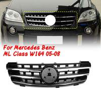 Front Bumper UpperGrill Grille for Mercedes Benz ML Class W164 2005 2006 2007 2008 3 Fin Front Hood Black Chrome