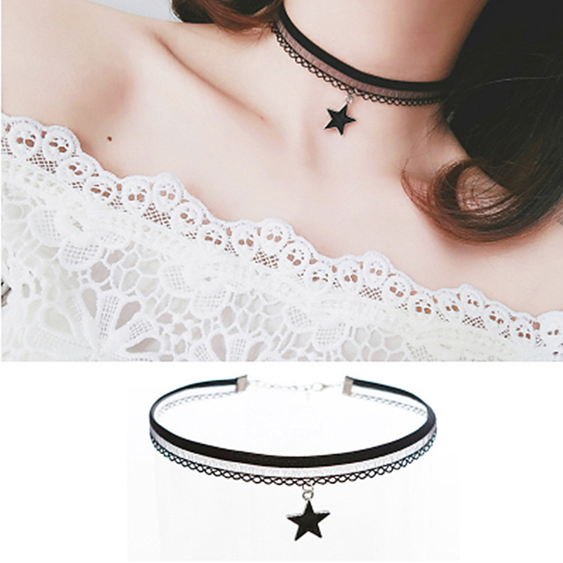 Handmade Velvet Lace Vintage Choker Necklace for Women Collar Torques Trendy Neck Jewelry Stretch Charm Gothic Punk Black Heart