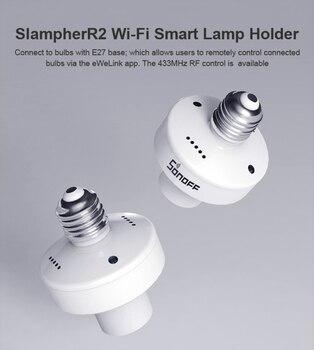 SONOFF SlampherR2 RF de 433MHz WiFi y E27 lámpara inalámbrica lámpara Holde inteligente de la lámpara del trabajo con Mazon Alexa Google/nido