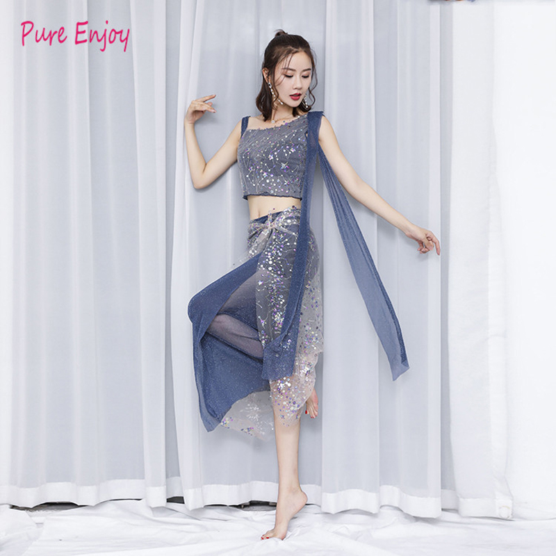 Belly Dance New Set Of Sequins Embroidery Mesh Gauze Skirt Sexy Elegant Fairy Belly Dance Practice Clothes 2pcs