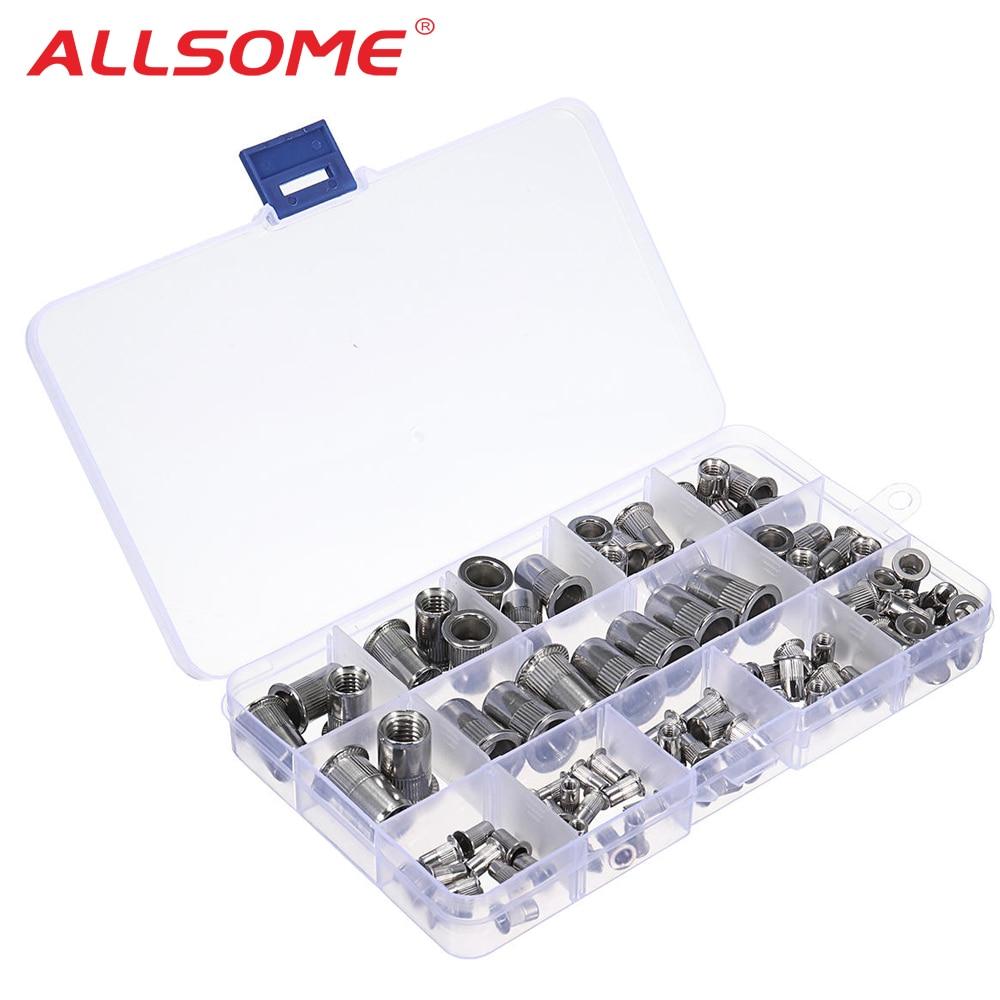 ALLSOME 93Pcs Stainless Steel Rivet Nut Rivnut Insert Nutsert KIT M3 M4 M5 M6 M8 M10 HT2827