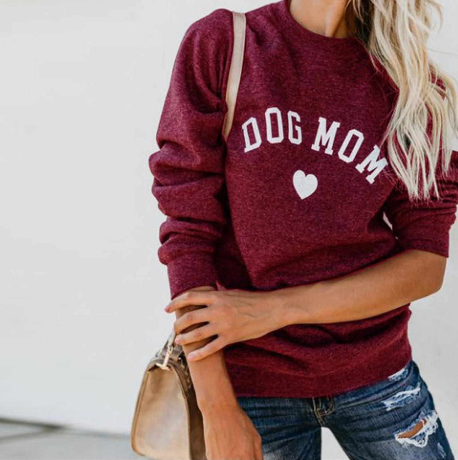 2019 Crew Neck Womens Tshirt Dog Mom And Cat Mom Kawaii Letter Prints Long Sleeve Women Tshirt Tops Fashion Pullover Outfits
