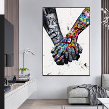 LOVE Graffiti Art Hand Posters and Prints on Canvas Painting Fashion Street Wall Art Picture for Living Room Home Design Decor(China)