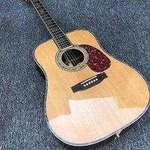 Fábrica personalizada guitarra acústica de 6 cordas, embutimento abalone, backboard de mogno com captador, painel de abeto, guitarra elétrica, posta