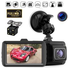 1080P HD Car DVR Dual Lens Camera Hidden Wide Angle Driving Video Recorder Dash Cam Support Reversing with Reversing Camera(China)