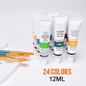 Image 3 - 24 renk 12ML akrilik boya seti zengin pigmentler tüp boyalar ahşap şövale boyama tuval sanat malzemeleri hediye çocuklar başlayanlar