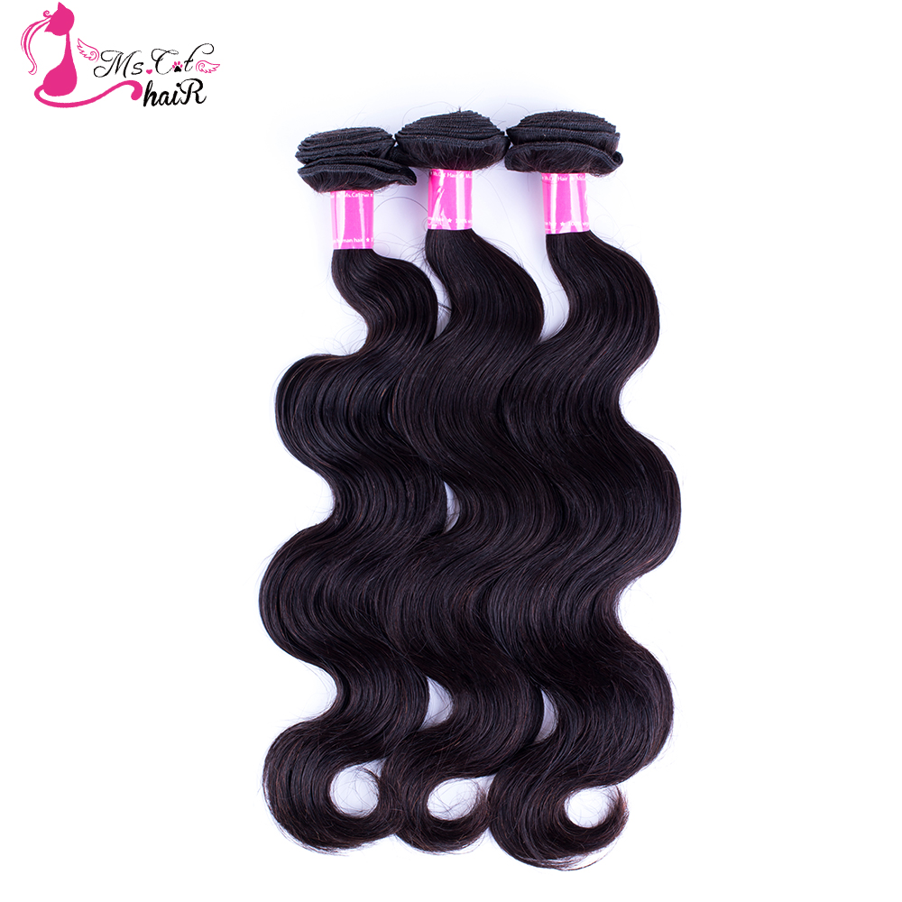 Ms Cat Hair 3 Bundles Peruvian Body Wave Hair Extensions 3PCS/lot 100% Human Hair Weave Bundles Remy Hair Free Shipping