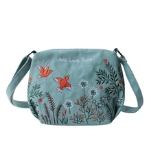 Flower Princess Orignal Design Women's Bag With Embroidery Canvas Girls Shoulder Bags Female Crossbody Bag Small Casual Handbags girls open shoulder flower embroidery top