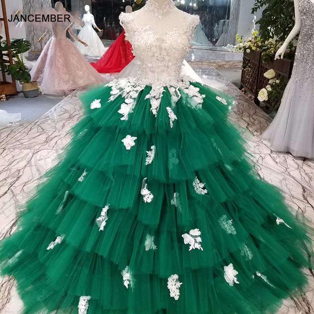 LSS152 Contrasting Sexy Backless Avocado Gree Evening Dresses 2020 High Neck Appliques Sleeveless Tiered Cake Party Dress платье
