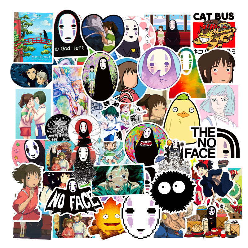 50PCS Miyazaki Hayao Anime Stickers Moving Castle Spirited Away Cartoon Stickers For Bike Laptop Book Luggage Kids Toys F4