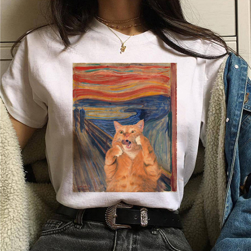 Cat Van Gogh T Shirt Women Art Print Oil Aesthetic Cute Funny Tshirt 90s Cartoon Ulzzang Casual Top Tee T-shirt Female Clothes